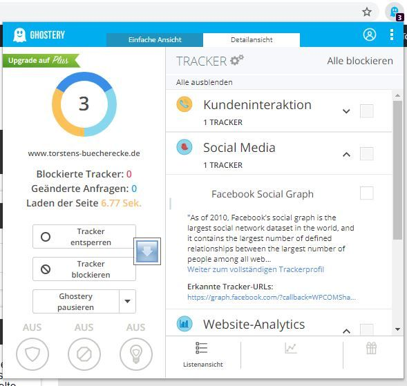 Ghostery Addin für Browser