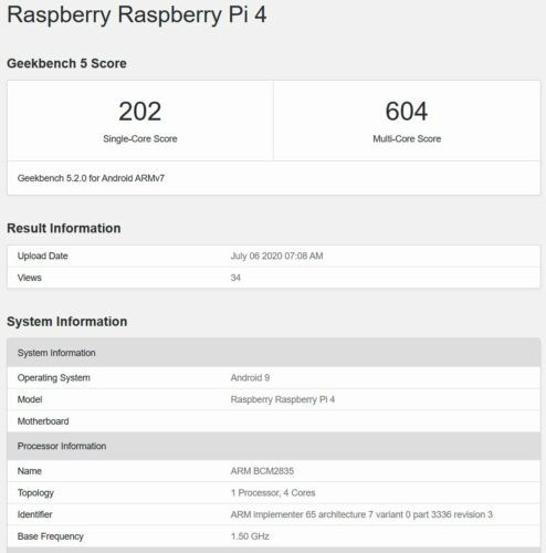 Raspberry Pi 4 Geekbench 5