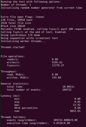 Sysbench IO Performance Raspberry Pi 4 Sequential Write