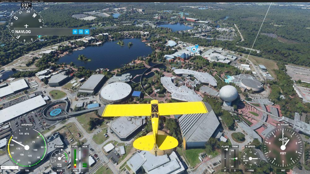 Flight Simulator 2020 - Epcot von oben mit 3D Modellen (nicht zu Tief gehen, dann sieht es klasse aus)