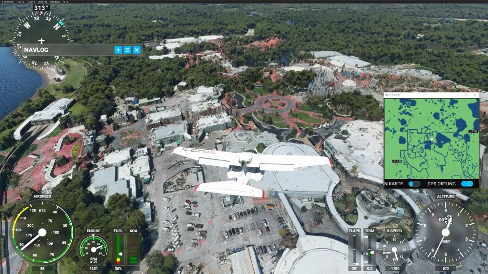 Flight Simulator 2020 - Magic Kingdom von oben mit 3D Modellen