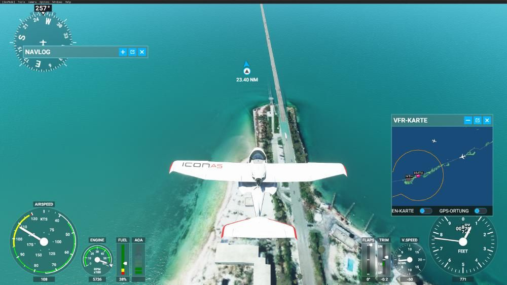 Flight Simulator 2020 - Florida Keys Der alte Highway versinkt im Meer (links neben dem neuen Highway)