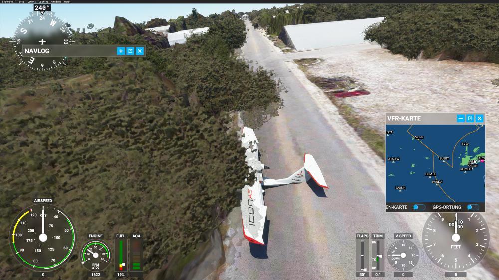 Flight Simulator 2020 - Landen in Key West? Besser nicht. Haus und Baum sind unterhalb der Straße platziert