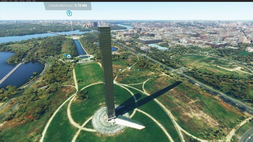 Flight Simulator 2020 - Washington - Urks sieht das scheiße aus. Das soll der Obelisk in Washinton sein. Unten sieht man den echten Schatten aus der Satellitenaufnahme und das Hochhaus was drauf geworden ist - fail++